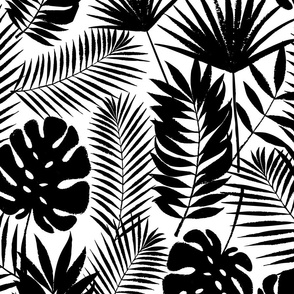 monstera and coconut palm leaves - large scale black ink