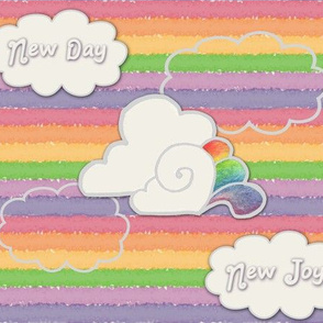 New Day New Joy Watercolor Rainbows and Clouds