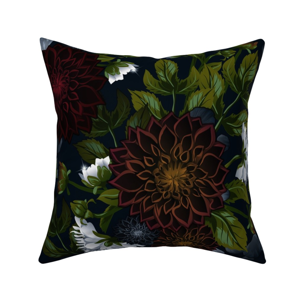 Catalan Throw Pillow featuring dahlia and white peonies by zazulla