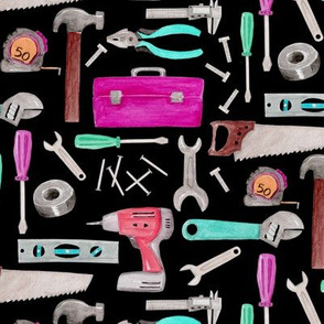 Tools for Girls (black) pink green coral mint, Kids Room Bedding