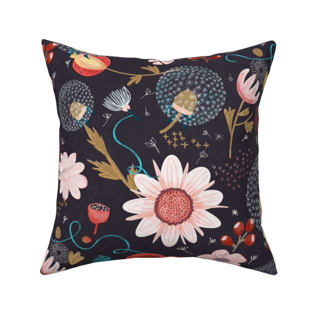 Catalan Throw Pillow featuring Dandelion at Night by anamakesgood