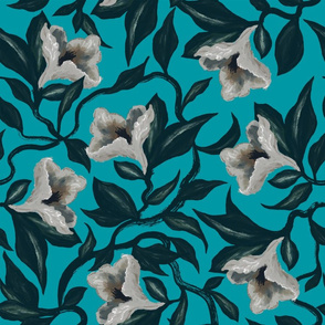 Moody Floral Vine Flowers | Turquoise