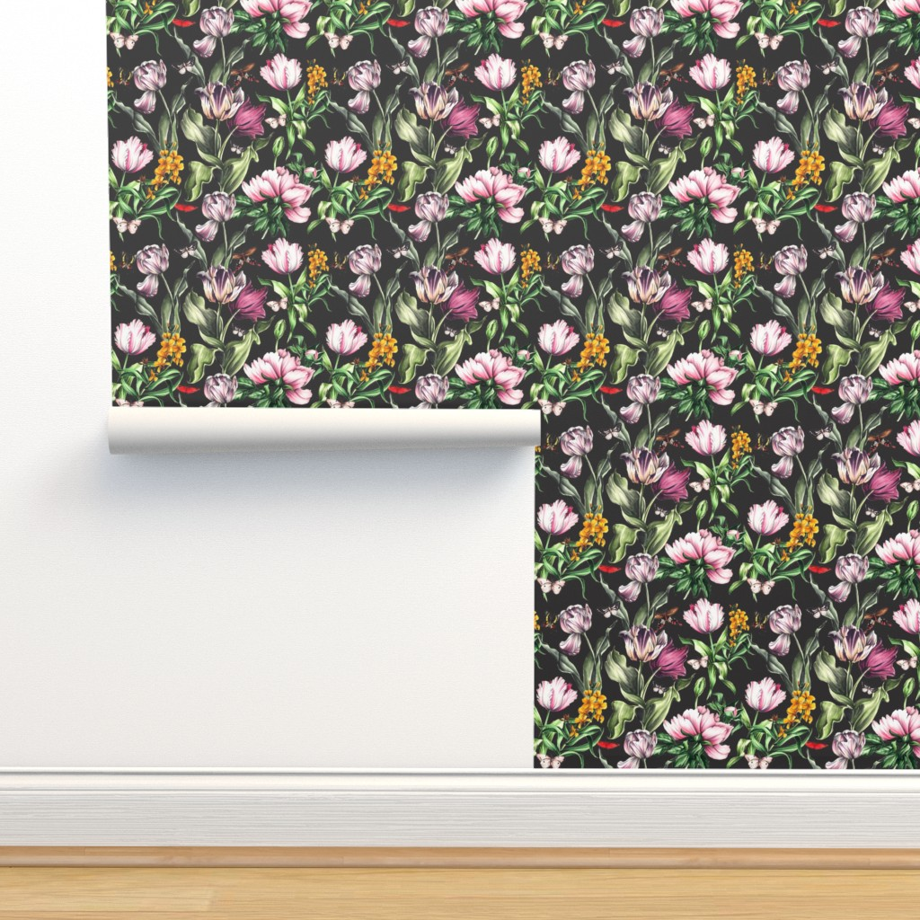 Isobar Durable Wallpaper featuring Moody Tulips by dorinus_illustrations