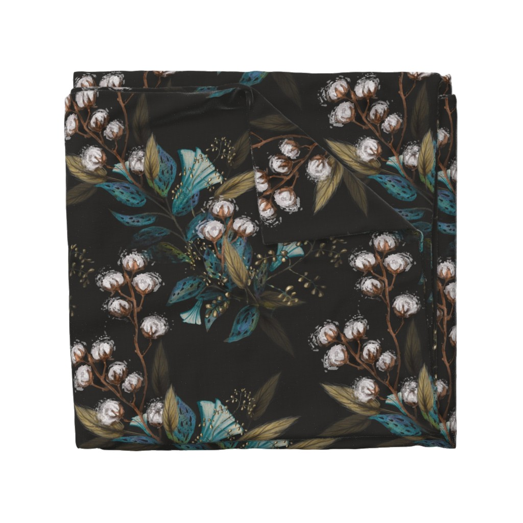 Wyandotte Duvet Cover featuring Moody Cotton Flowers by Kim Marshall by kim_marshall