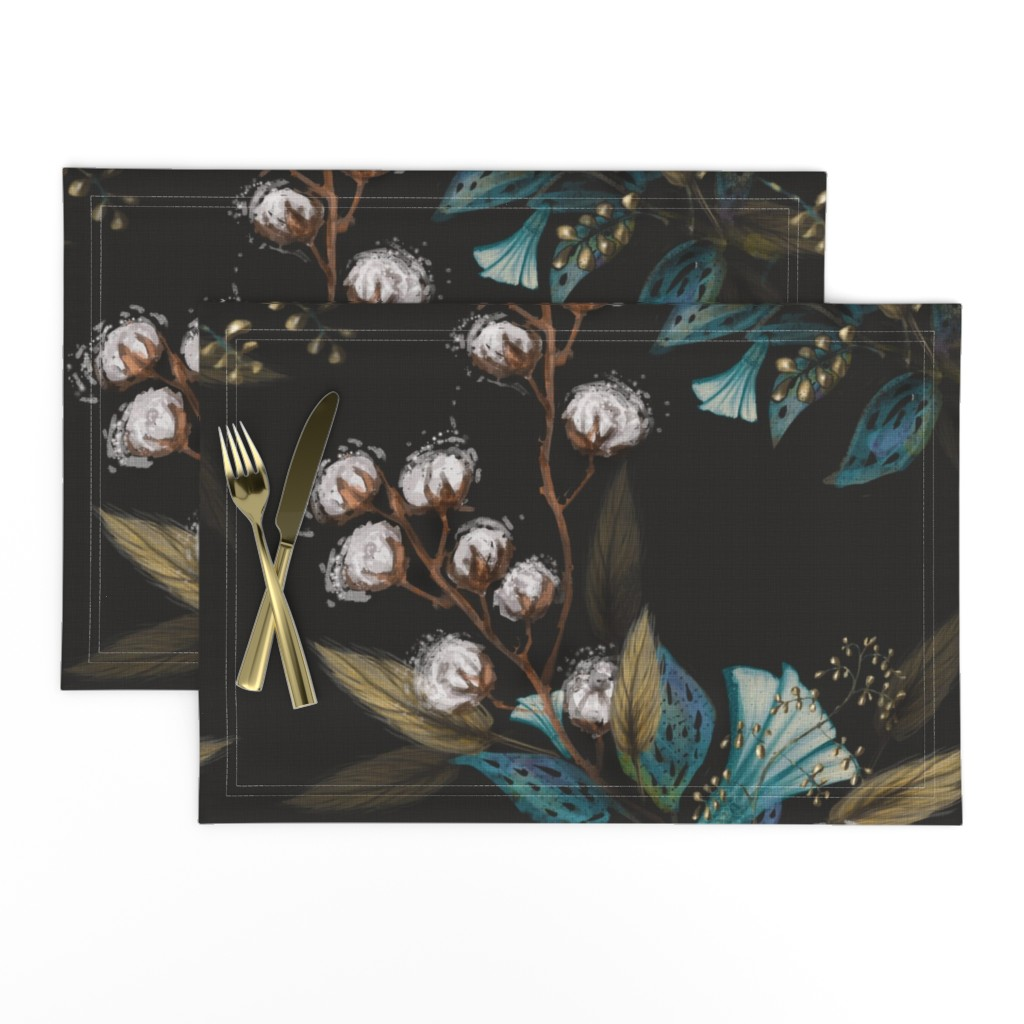 Lamona Cloth Placemats featuring Moody Cotton Flowers by Kim Marshall by kim_marshall