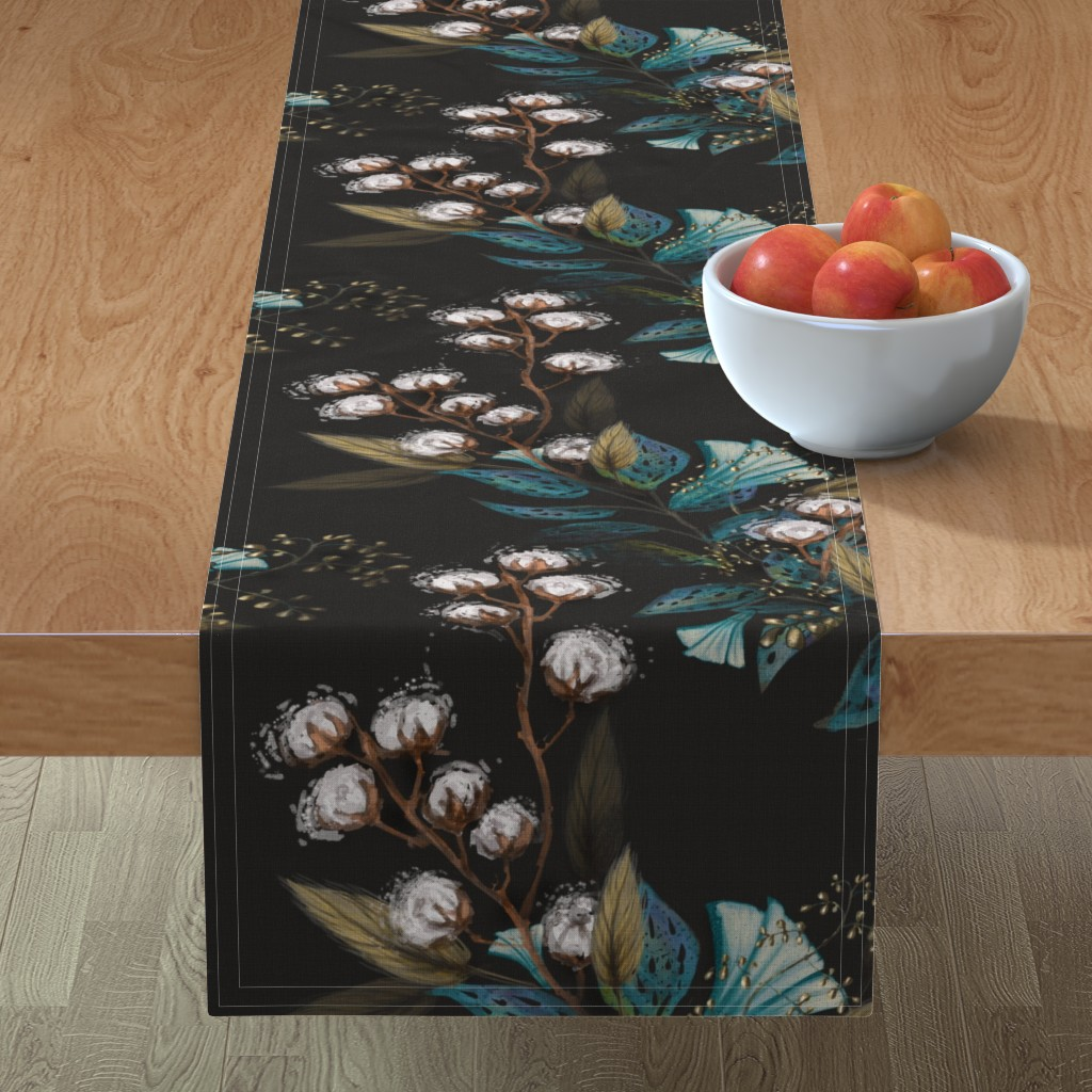 Minorca Table Runner featuring Moody Cotton Flowers by Kim Marshall by kim_marshall