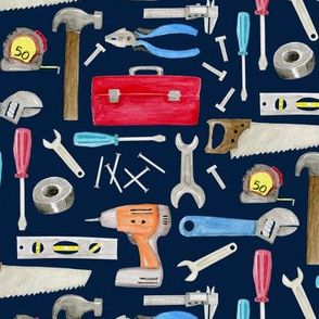 Tools (navy) red orange blue, Kids Room Bedding