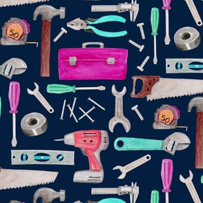 Tools for Girls (navy) pink green coral mint, Kids Room Bedding