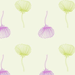 Large Scale Lime Green and Purple Delicate Flowers, Romantic Floral, Spring Colors