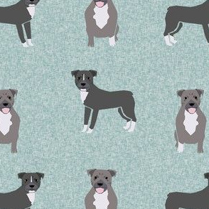 pitbull dog linen look fabric - cheater quilt coordinate - pitbull dog fabric - blue