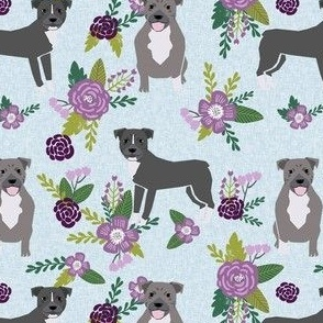 pitbull floral dog fabric, dog fabric, floral fabric, dog florals, dog fabric, pitbull florals fabric, - purple
