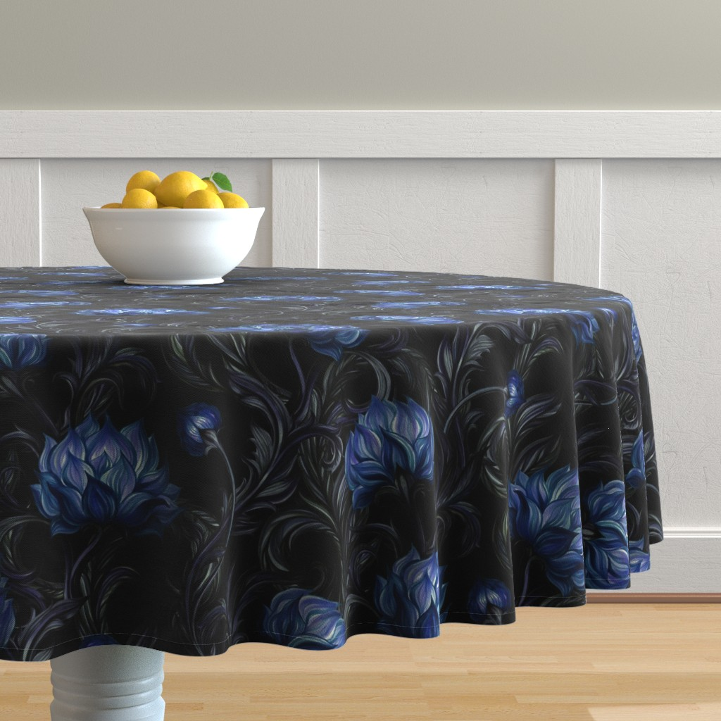 Malay Round Tablecloth featuring Moody Florals by katyau