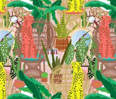 Rattan Chairs + Cheetah Botanical in Pink Terrazzo