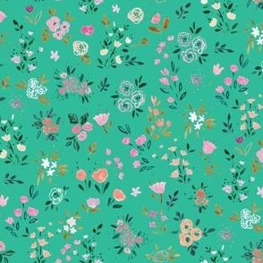 Darlene Floral Ditsy- emerald light