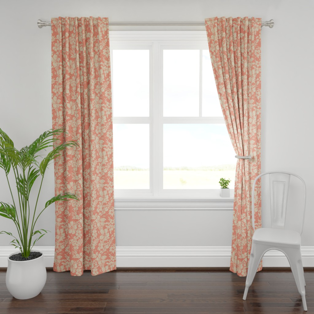 Plymouth Curtain Panel featuring Distressed Hawaiian Hibiscus Floral- Living Coral by hawaiiana_by_driveindustries
