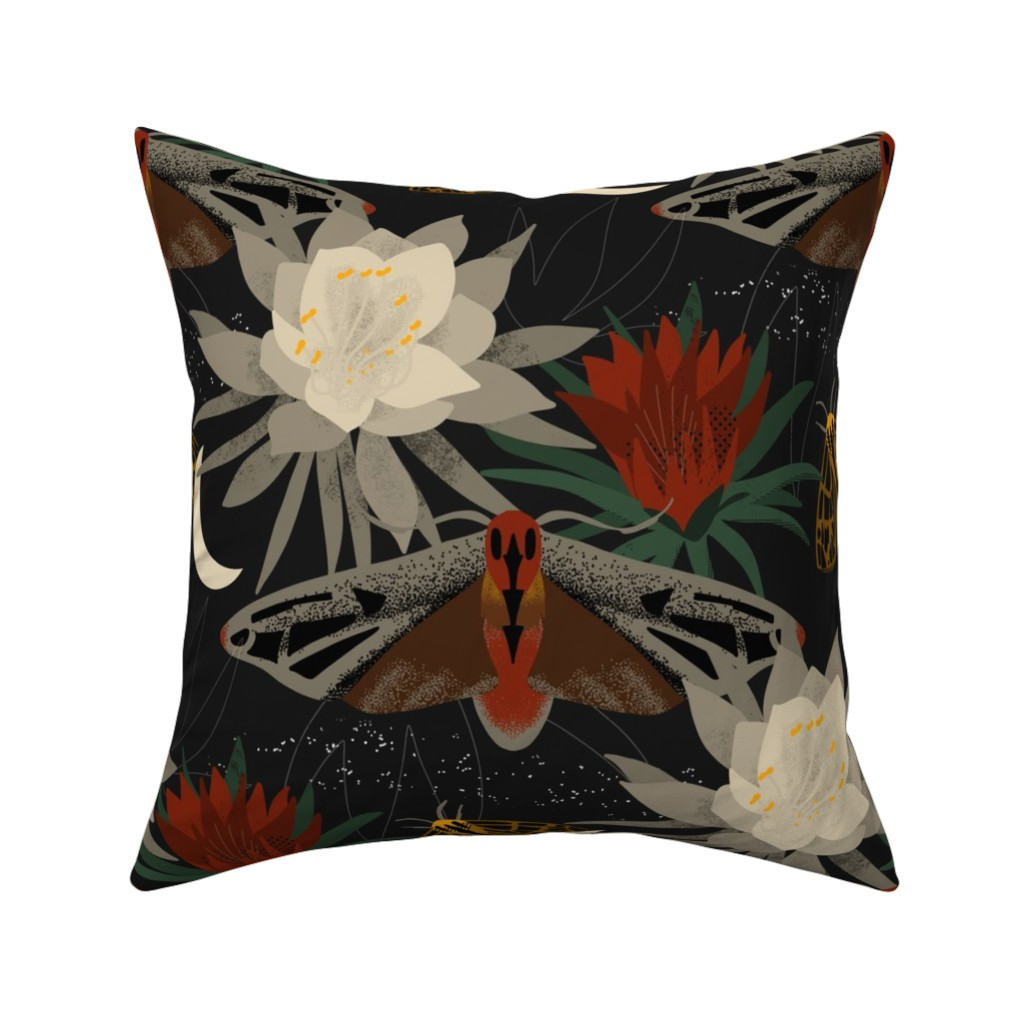 Catalan Throw Pillow featuring Midnight Gardens by thinkmakedesign