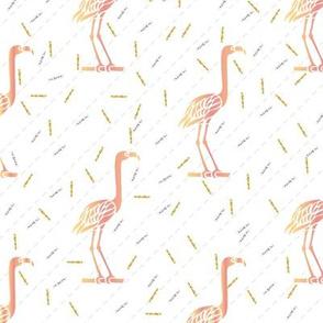 Flamingos In Confetti