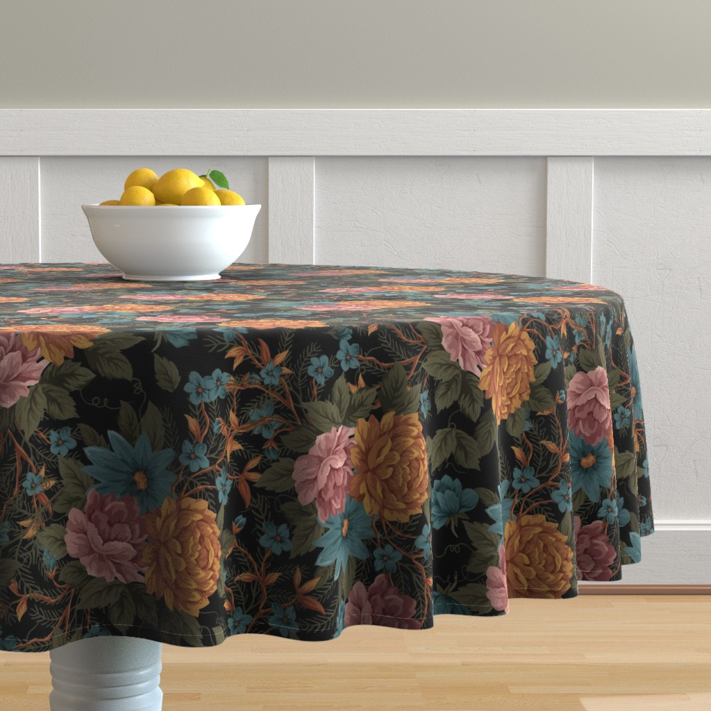 Malay Round Tablecloth featuring Vintage Mood ©Julee Wood by jewelraider