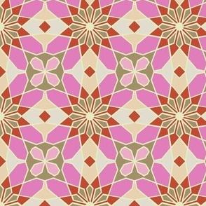 Arabesque Geometrc Floral Pattern Pink