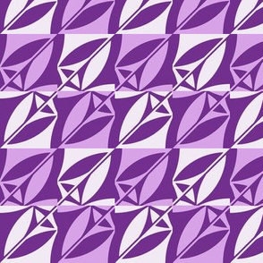 Leaves Geometric Pattern Fabric Purple
