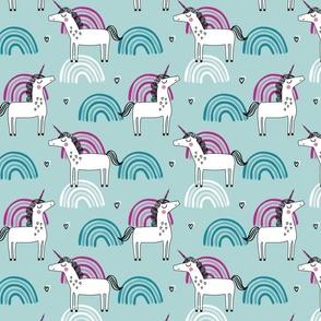 Unicorn rainbow girls pattern on teal