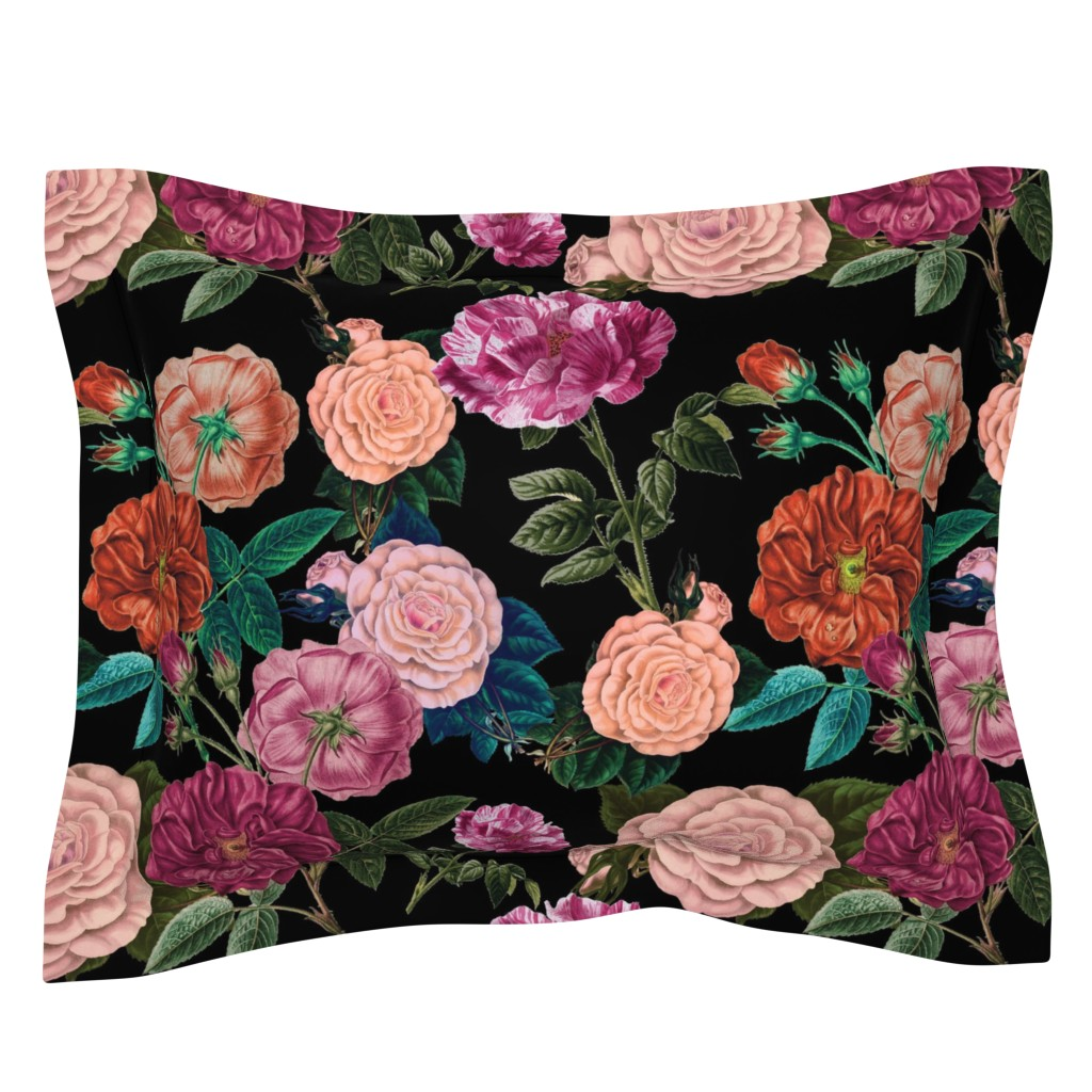 Sebright Pillow Sham featuring Moody Roses Black  by bruxamagica