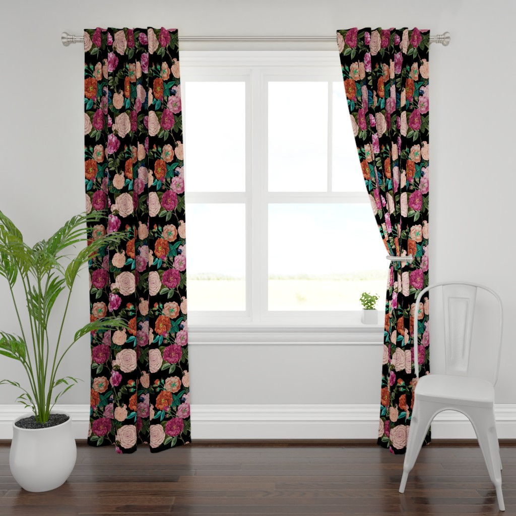 Plymouth Curtain Panel featuring Moody Roses Black  by bruxamagica