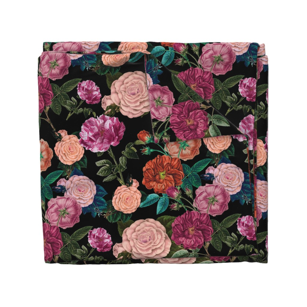 Wyandotte Duvet Cover featuring Moody Roses Black  by bruxamagica