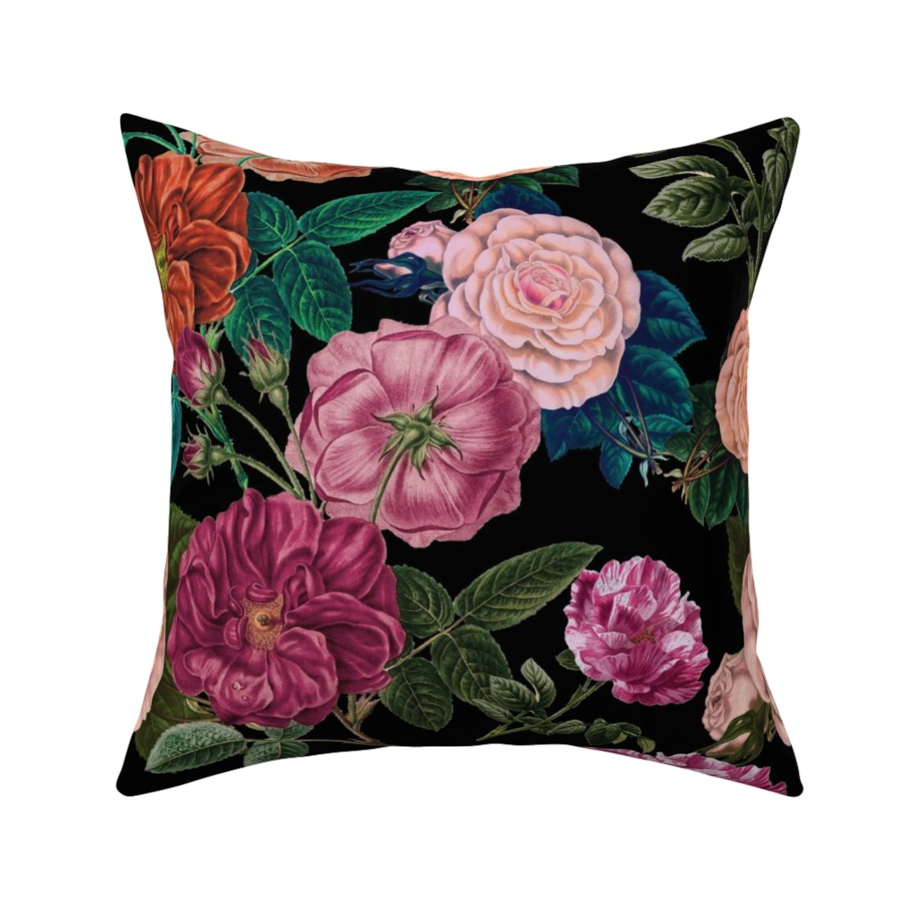 Catalan Throw Pillow featuring Moody Roses Black  by bruxamagica