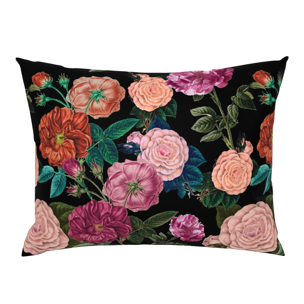 Campine Pillow Sham featuring Moody Roses Black  by bruxamagica
