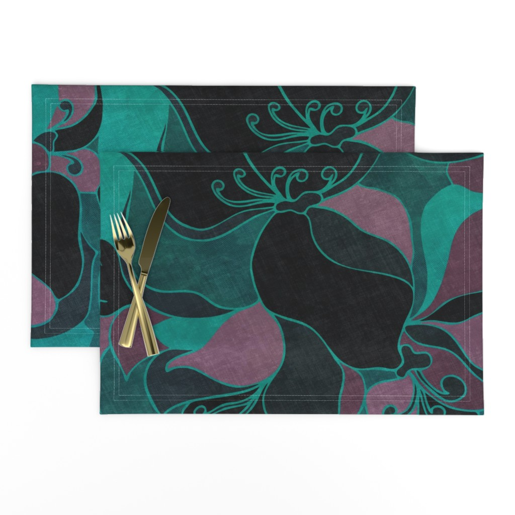 Lamona Cloth Placemats featuring Moody Florals by delinda_graphic_studio