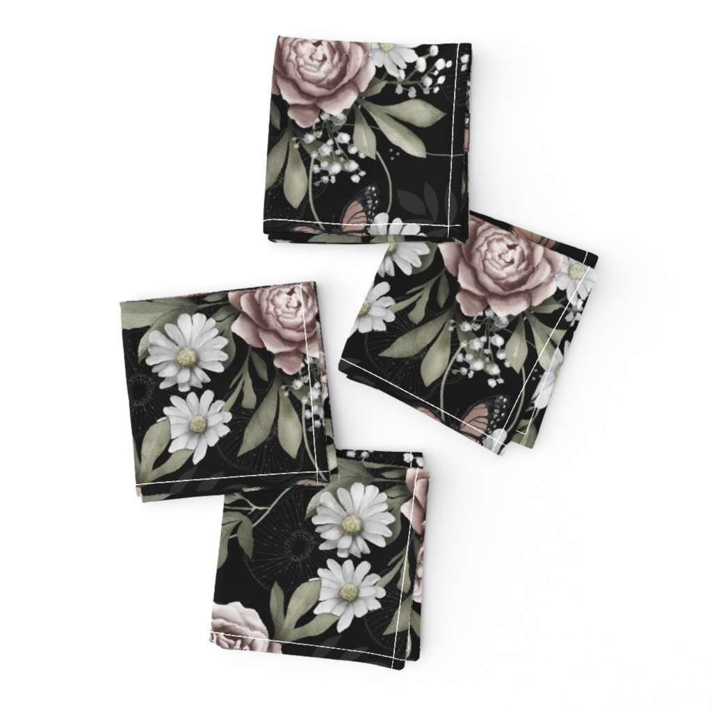 Frizzle Cocktail Napkins featuring Moody florals by whimsical_brush