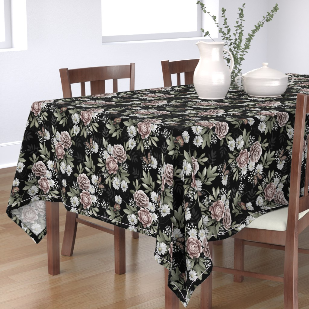 Bantam Rectangular Tablecloth featuring Moody florals by whimsical_brush