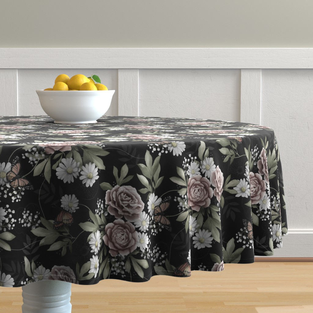 Malay Round Tablecloth featuring Moody florals by whimsical_brush