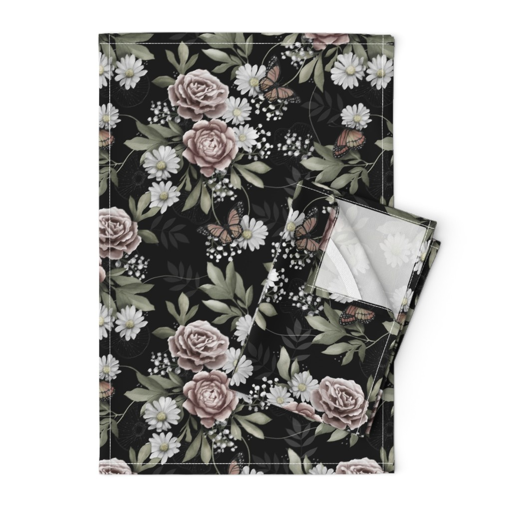 Orpington Tea Towels featuring Moody florals by whimsical_brush