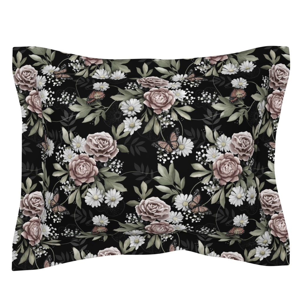 Sebright Pillow Sham featuring Moody florals by whimsical_brush