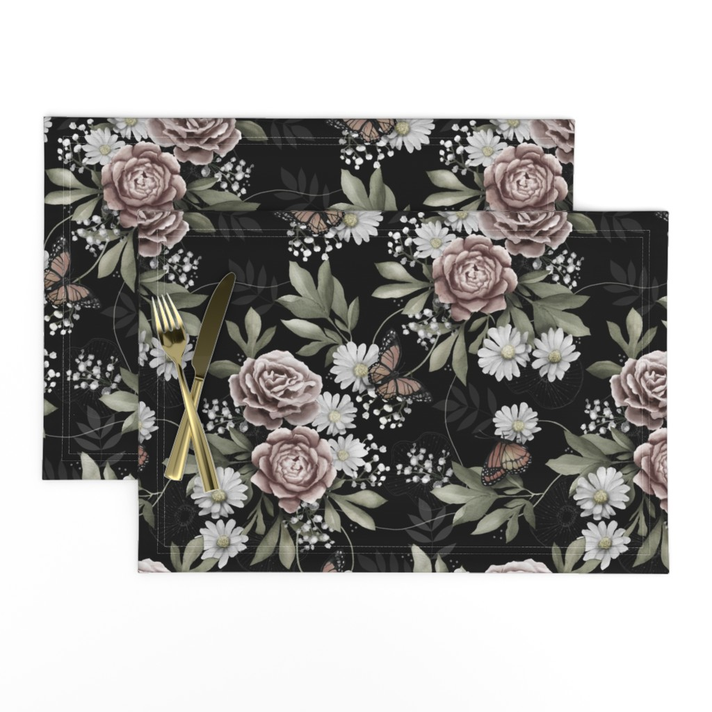 Lamona Cloth Placemats featuring Moody florals by whimsical_brush