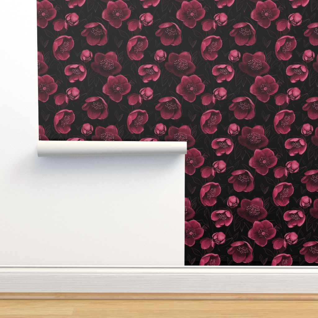 Isobar Durable Wallpaper featuring Moody hallebores by oohoo_designs