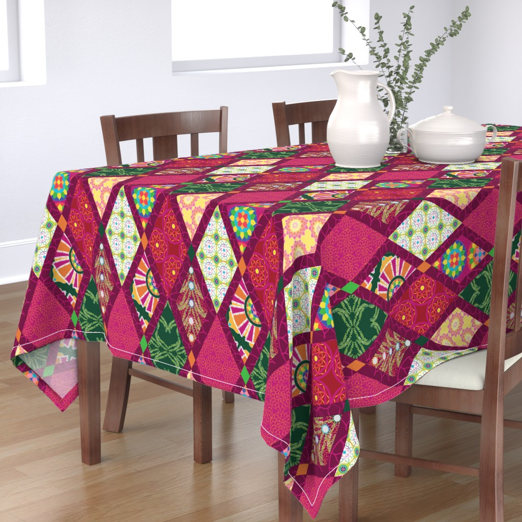 Bantam Rectangular Tablecloth featuring Maximalist boho diamond by colour_angel_by_kv