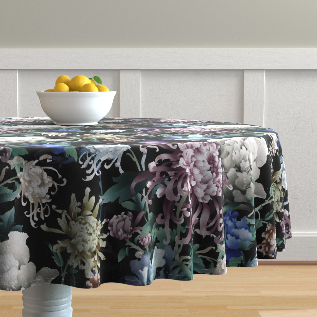Malay Round Tablecloth featuring Floral Night by chicca_besso