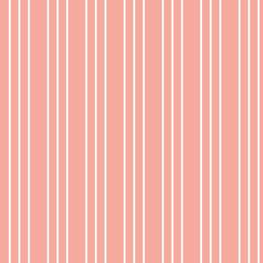Coral Pink and White Stripes