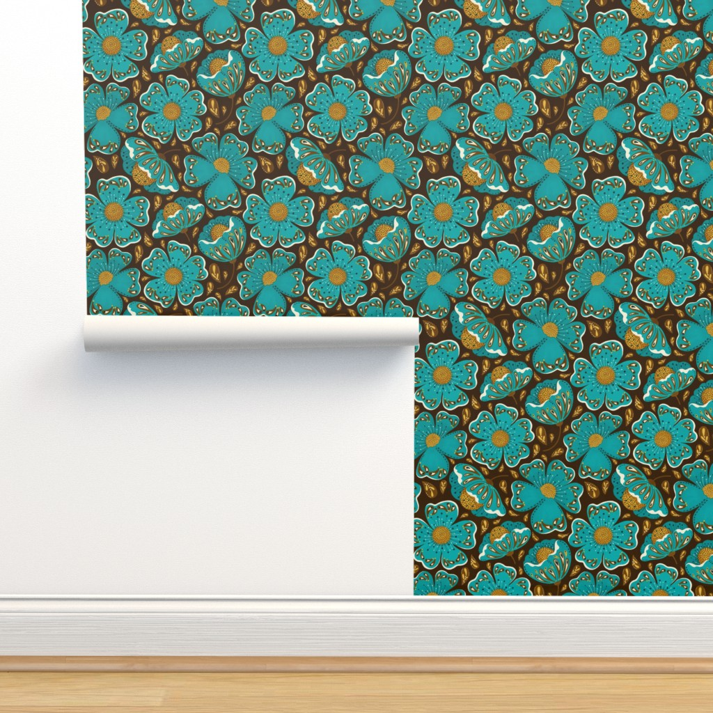 Isobar Durable Wallpaper featuring moody floral  by gnoppoletta