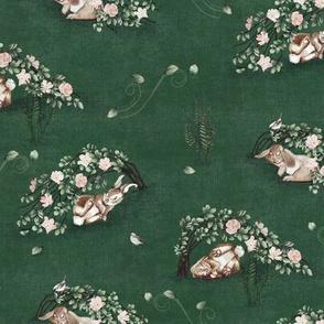 Bunny Brair Windy Day Emerald Green, Rabbit Sparrow Bird Fern Grass Green Wild Rose