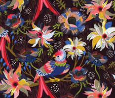 Lush Moody florals - wallpaper