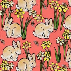bunny bee + daffodil: living coral