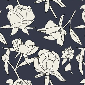 Roses in Cream and Charcoal Black