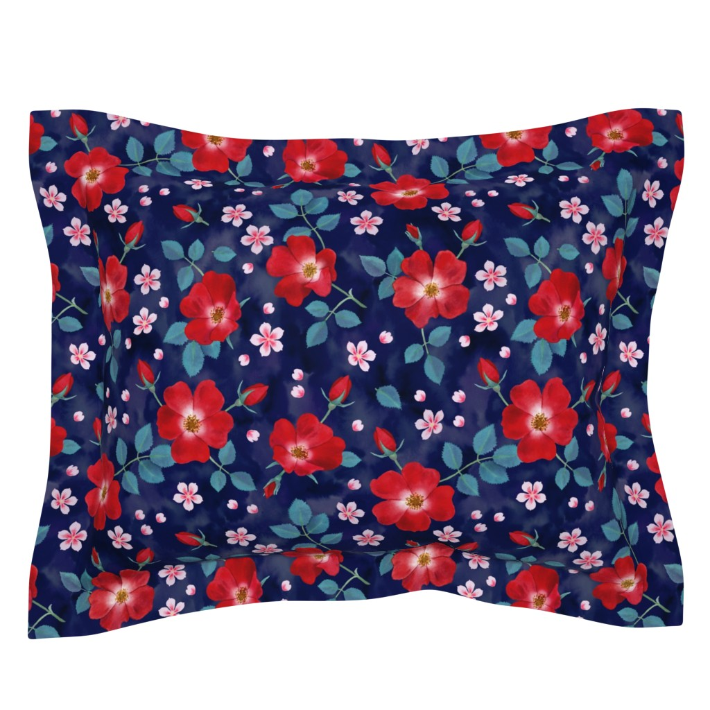Sebright Pillow Sham featuring Moody Wild Roses by nadyabasos