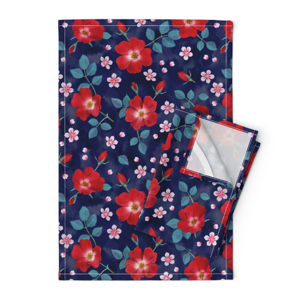 Orpington Tea Towels featuring Moody Wild Roses by nadyabasos