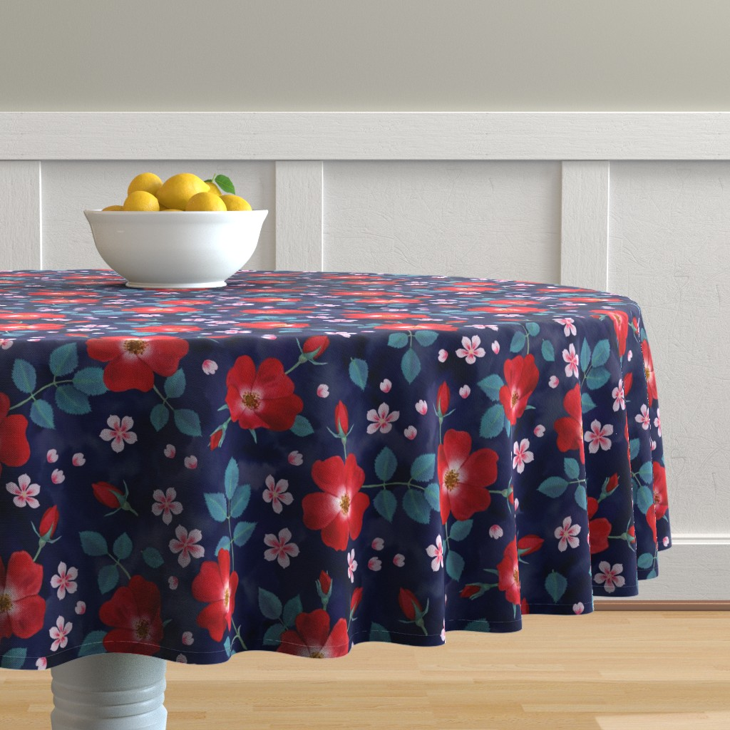 Malay Round Tablecloth featuring Moody Wild Roses by nadyabasos