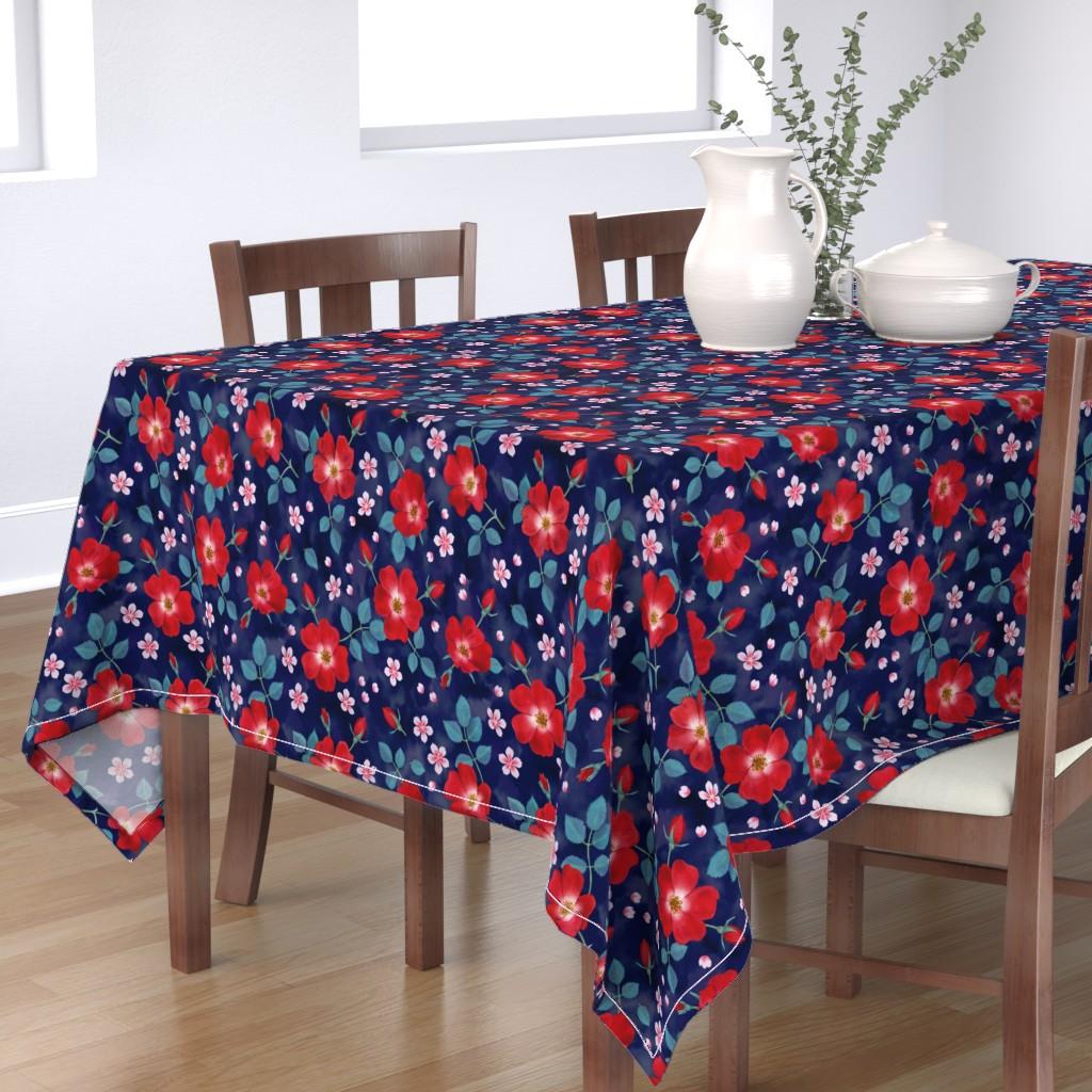 Bantam Rectangular Tablecloth featuring Moody Wild Roses by nadyabasos